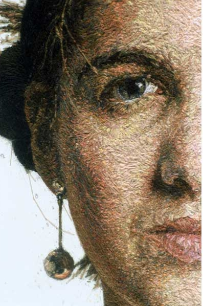 Sophie by Cayce Zavaglia - crewel on linen