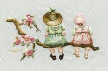 Victorian children on branch