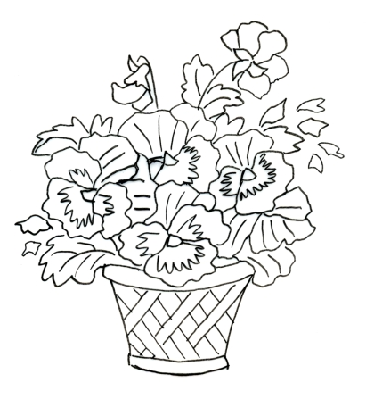 Pansy Basket Outline