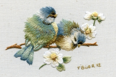 Miniature vintage Bluebirds & daisies