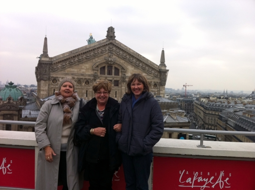 Hazel, Di & I on rooftop of Galeries Lafayette