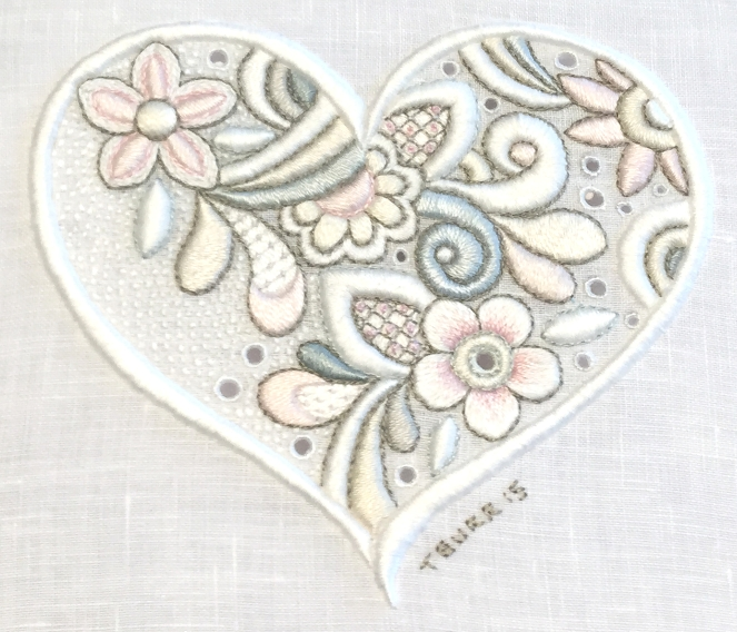 Gentle Heart  Shades Of Whitework Kit