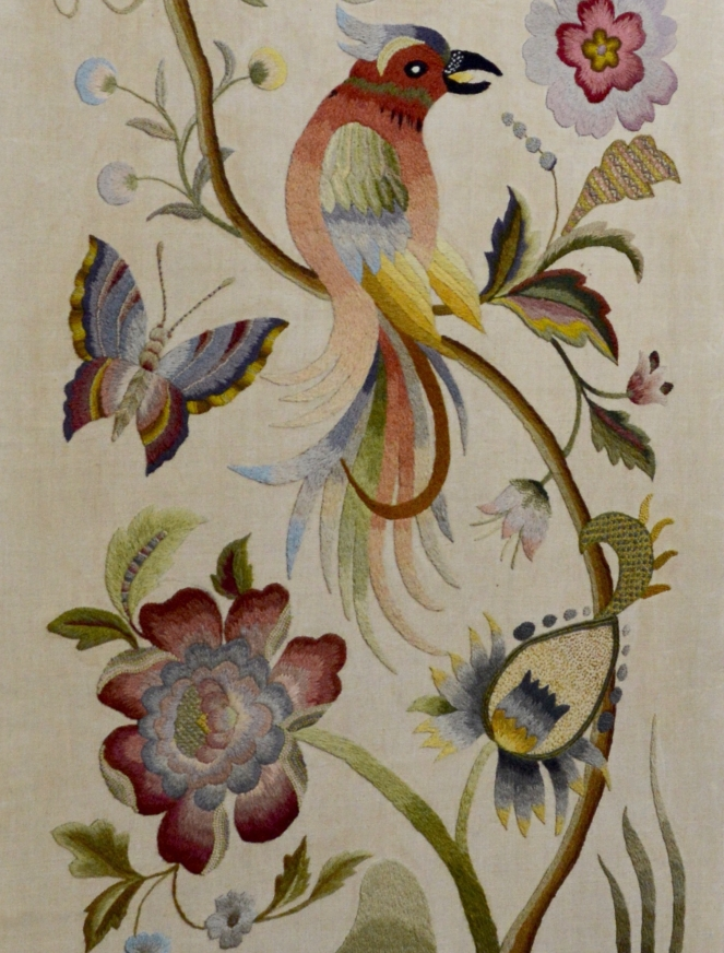 Section of a crewel embroidery screen