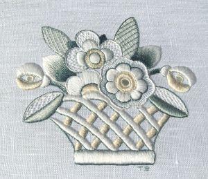 Complete Lesson in whitework:  Flower Basket