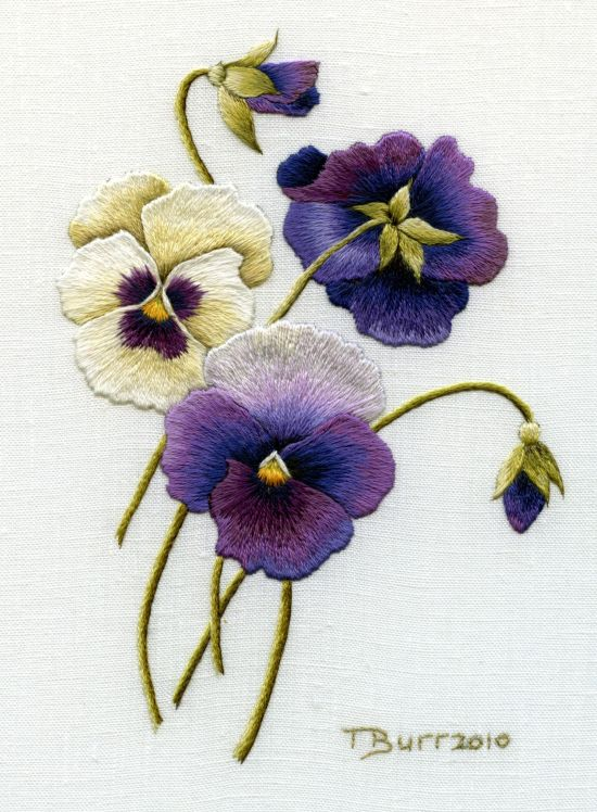 Larger Pansies stitched on linen