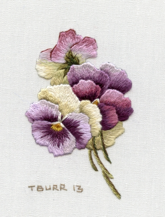 Small Pansies stitched on cotton